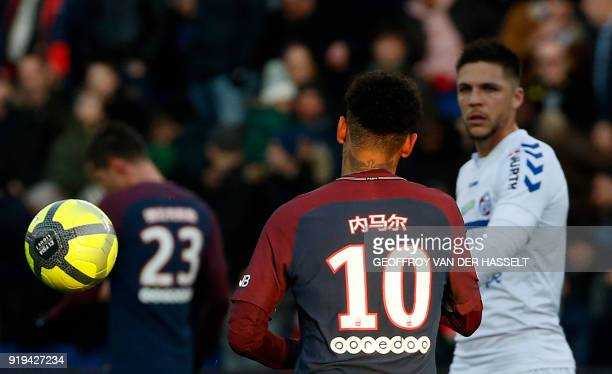 Paris SaintGermain's Brazilian forward Neymar Jr takes part in the French Ligue 1 football match between Paris SaintGermain and Strasbourg at The...