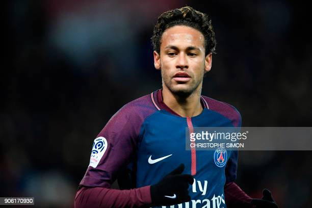 Paris SaintGermain's Brazilian forward Neymar looks on during the French L1 football match between Paris SaintGerman and Dijon on January 17 2018 at...