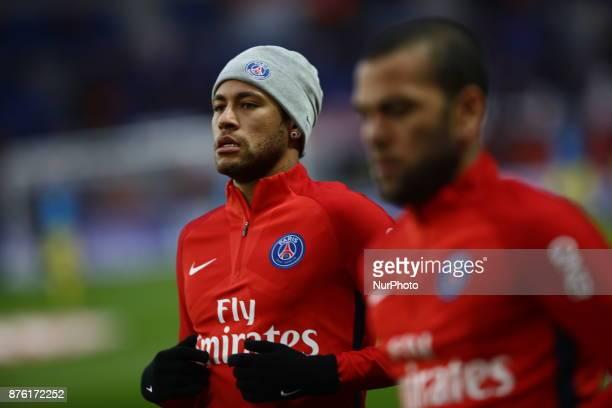 Paris SaintGermain's Brazilian forward Neymar looks on during warm up prior to the French L1 football match between Paris SaintGermain and Nantes at...