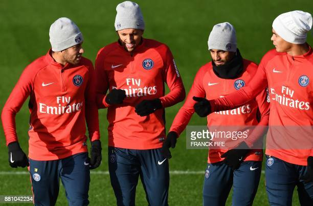 Paris SaintGermain's Brazilian forward Neymar Paris SaintGermain's Brazilian defender Marquinhos Paris SaintGermain's Brazilian midfielder Lucas...