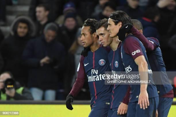 Paris SaintGermain's Brazilian forward Neymar Paris SaintGermain's Argentinian midfielder Paris SaintGermain's Argentinian midfielder Giovanni Lo...