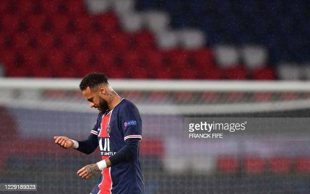 Paris Saint-Germain's Brazilian forward Neymar reacts after losing the UEFA Europa League Group H first-leg football match between Paris...