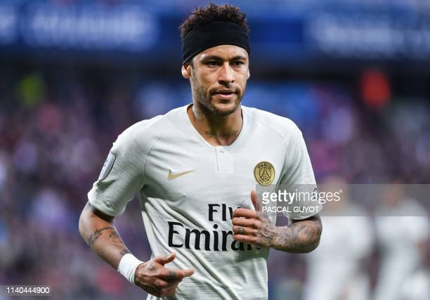 Paris SaintGermain's Brazilian forward Neymar reacts during the French L1 football match between Montpellier and Paris SaintGermain on April 30 2019...