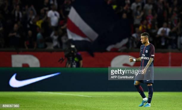 Paris SaintGermain's Brazilian forward Neymar reacts during the French L1 football match between Paris SaintGermain and SaintEtienne on August 25 at...