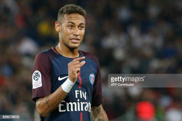 Paris SaintGermain's Brazilian forward Neymar reacts during the French L1 football match between Paris SaintGermain and SaintEtienne on August 25 at...