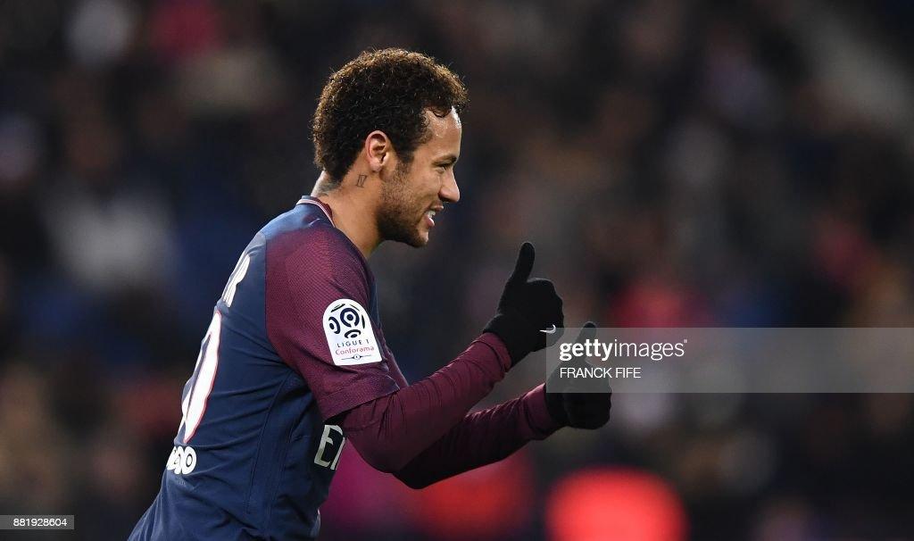 Paris Saint-Germain's Brazilian forward Neymar reacts during the French L1 football match between Paris Saint-Germain (PSG) and Troyes at the Parc des Princes stadium in Paris on November 29, 2017. /