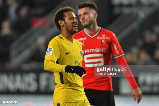 Paris SaintGermain's Brazilian forward Neymar reacts during the French L1 football match between Rennes and Paris Saint Germain on December 16 at the...