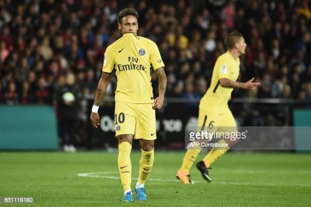 Paris SaintGermain's Brazilian forward Neymar walks during the French L1 football match Paris SaintGermain vs En Avant Guingamp at the Roudourou...