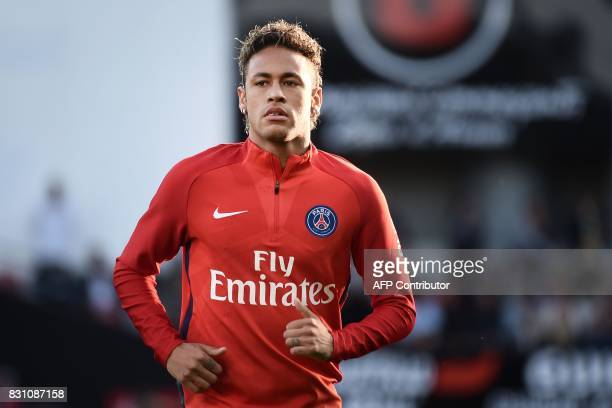 Paris SaintGermain's Brazilian forward Neymar warms up prior to the French L1 football match Paris SaintGermain vs En Avant Guingamp at the Roudourou...