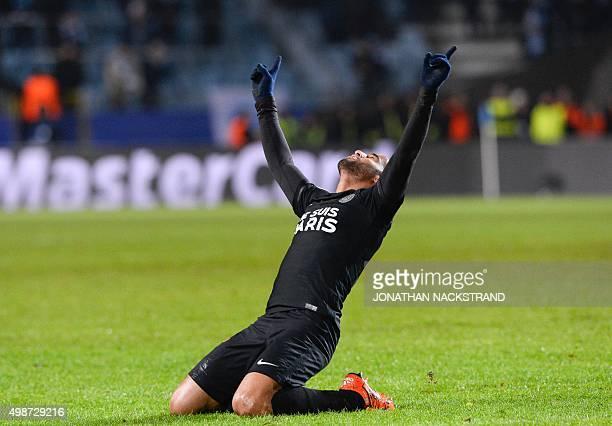 Paris SaintGermain`s Brazilian midfielder Lucas celebrates after scoring a goal during the UEFA Champions League Group A secondleg football match...