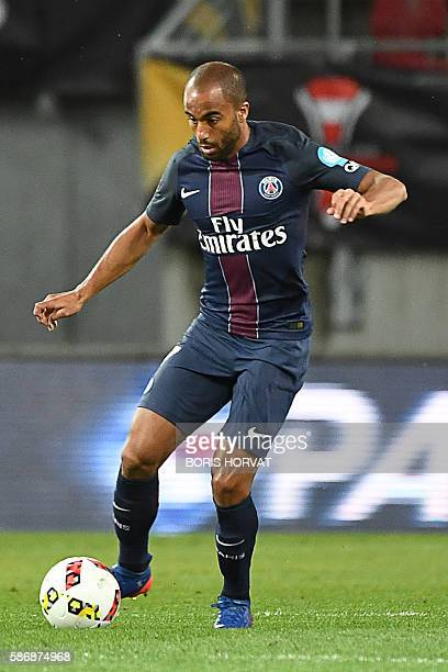 Paris SaintGermain's Brazilian midfielder Lucas Moura controls the ball during the French Supercup Champions trophy football match Paris SaintGermain...