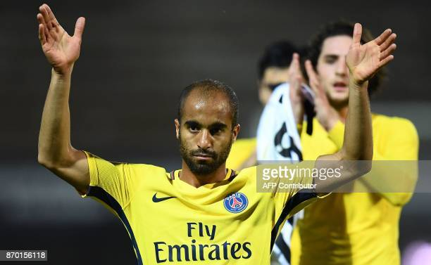 Paris SaintGermain's Brazilian midfielder Lucas Moura reacts at the end of the French L1 football match between Angers and Paris SaintGermain at the...