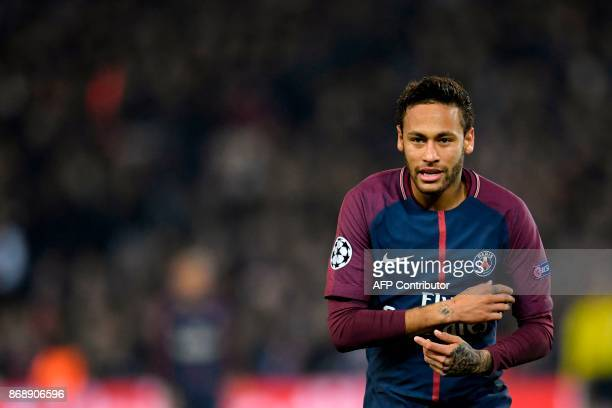 Paris SaintGermain's Brazilian Neymar gestures during the UEFA Champions League Group B football match between Paris SaintGermain and Anderlecht on...