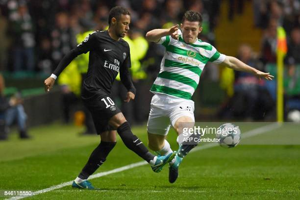 Paris SaintGermain's Brazilian striker Neymar vies with Celtic's Scottish defender Anthony Ralston during the UEFA Champions League Group B football...