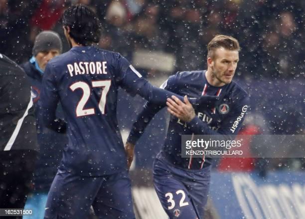 Paris SaintGermain's British midfielder David Beckham enters the field to replace teammate Argentinian midfielder Javier Pastore during the French L1...
