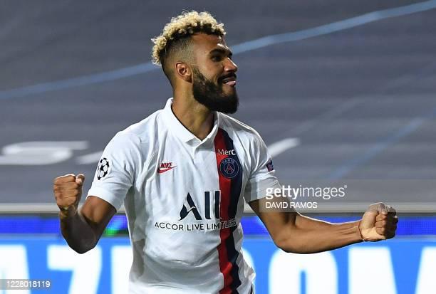 TOPSHOT Paris SaintGermain's Cameroon forward Eric Maxim ChoupoMoting celebrates after scoring a goal during the UEFA Champions League quarterfinal...
