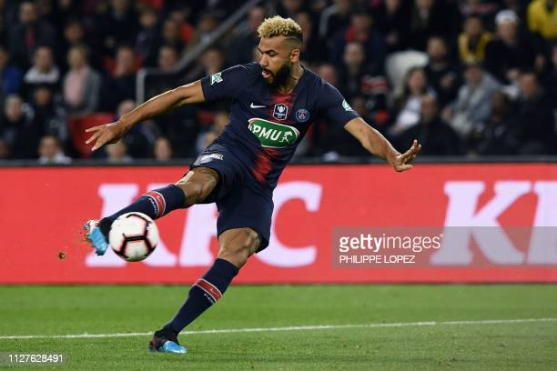 Paris SaintGermain's Cameroonian forward Eric ChoupoMoting kicks the ball during the French Cup quarterfinal football match between Paris...