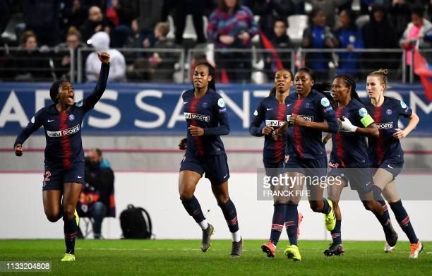 Paris Saint-Germain's Canadian defender Ashley Lawrence celebrates after scoring a goal during the UEFA Women's Champions League quarter final second...