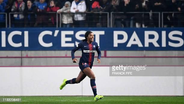 Paris SaintGermain's Canadian defender Ashley Lawrence celebrates after scoring a goal during the UEFA Women's Champions League quarter final second...