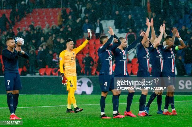 Paris Saint-Germain's celebrate their 4-2 win against Lyon in their French L1 football match Paris Saint-Germain against Lyon at the Parc des Princes...