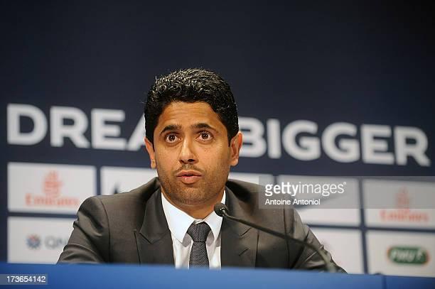 Paris Saint-Germain's chairman Nasser Al-Khelaifi speaks during a press conference on July 16, 2013 in Paris, France. Cavani's transfer to Paris...