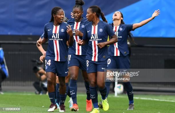 Paris SaintGermain's Danish forward Nadia Nadim jubilates after scoring during the Trophee des Championnes the French football match women final...