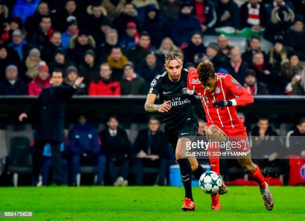 Paris SaintGermain's French defender Layvin Kurzawa and Bayern Munich's French striker Kingsley Coman vie for the ball during the UEFA Champions...