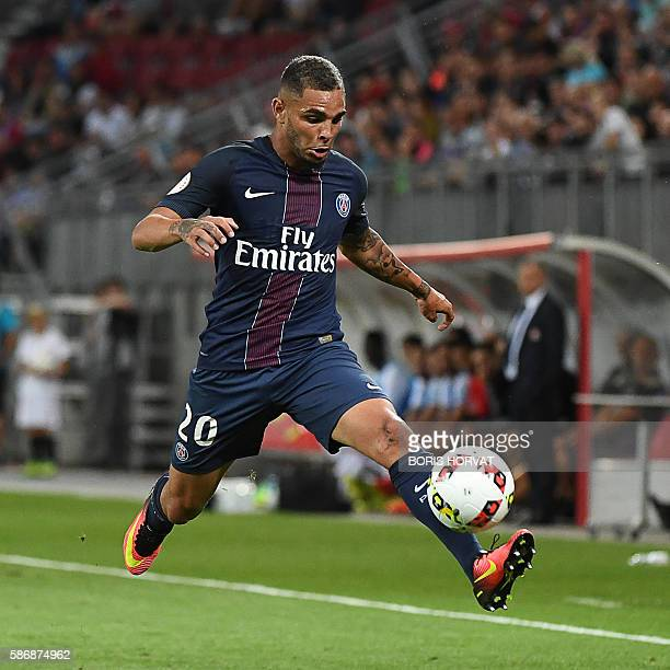 Paris SaintGermain's French defender Layvin Kurzawa controls the ball during the French Supercup Champions trophy football match Paris SaintGermain...