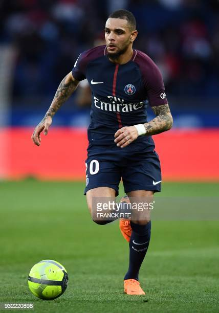 Paris SaintGermain's French defender Layvin Kurzawa during the French L1 football match between Paris SaintGermain and Angers at the Parc des Princes...