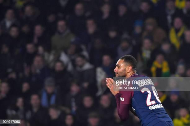 Paris SaintGermain's French defender Layvin Kurzawa reacts during the French L1 football match between Nantes and Paris SaintGermain at the La...