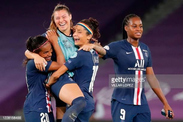Paris Saint-Germain's French defender Perle Morroni , Paris Saint-Germain's Danish forward Nadia Nadim and Paris Saint-Germain's French forward...
