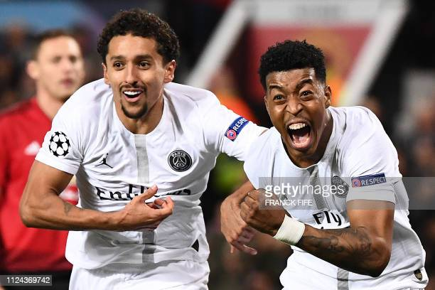 TOPSHOT Paris SaintGermain's French defender Presnel Kimpembe celebrates scoring the opening goalduring the first leg of the UEFA Champions League...