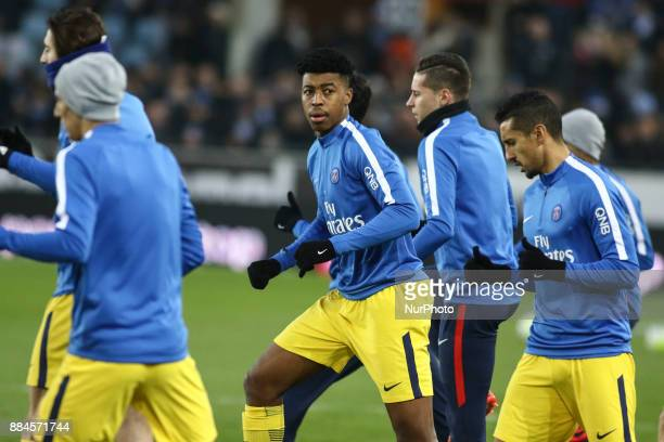 Paris SaintGermain's French defender Presnel Kimpembe during warmup before the French L1 football match between Strasbourg and Paris SaintGermain at...