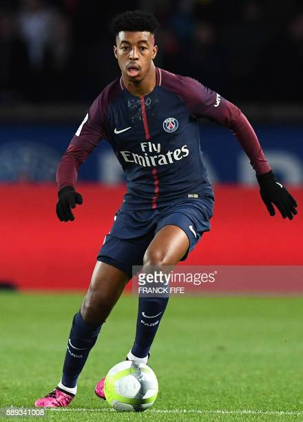 Paris SaintGermain's French defender Presnel Kimpembe plays the ball during the French L1 football match between Paris SaintGermain and Lille at the...