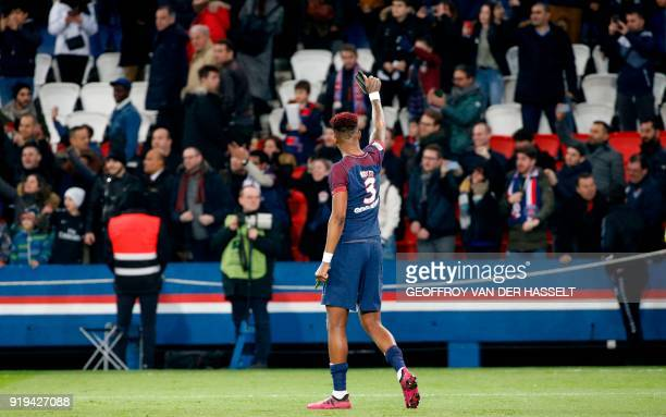 Paris SaintGermain's French defender Presnel Kimpembe reacts at the end of the French Ligue 1 football match between Paris SaintGermain and...