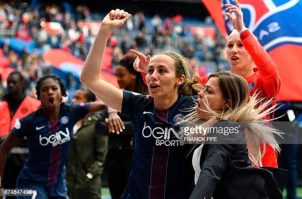 Paris SaintGermain's French defender Sabrina Delannoy Paris SaintGermain's French defender Laure Boulleau and Paris SaintGermain's Polish goalkeeper...