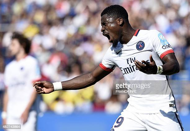 Paris SaintGermain's French defender Serge Aurier reacts during the French Trophy of Champions football match against ParisSaintGermain vs Lyon at...