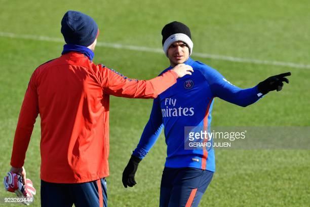 Paris SaintGermain's French forward Hatem Ben Arfa gestures during a training session in SaintGermainenLaye on February 23 2018 / AFP PHOTO / GERARD...