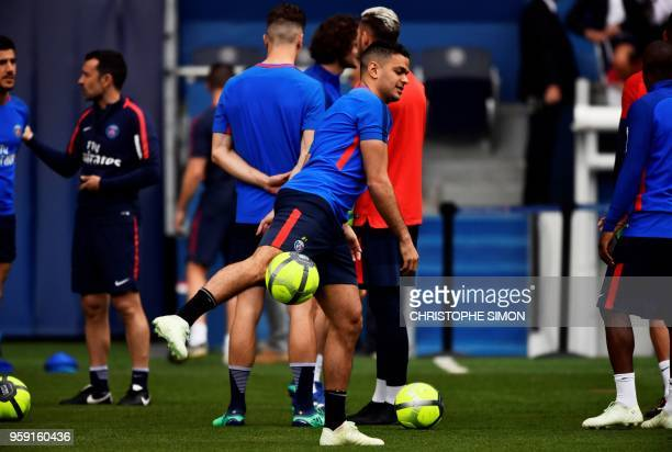 Paris SaintGermain's French forward Hatem Ben Arfa takes part in a training session in Paris at the Parc des Princes on May 16 2018