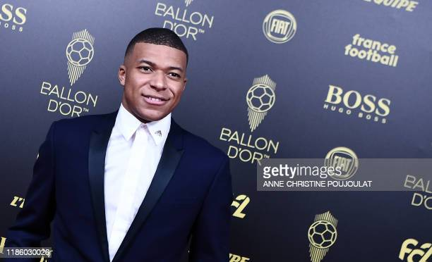 Paris Saint-Germain's French forward Kylian Mbappe arrives to attend the Ballon d'Or France Football 2019 ceremony at the Chatelet Theatre in Paris...