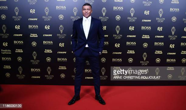 Paris SaintGermain's French forward Kylian Mbappe arrives to attend the Ballon d'Or France Football 2019 ceremony at the Chatelet Theatre in Paris on...