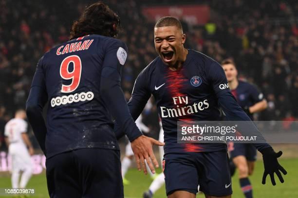 TOPSHOT Paris SaintGermain's French forward Kylian Mbappe celebrates after scoring a goal during the French L1 football match Paris SaintGermain vs...