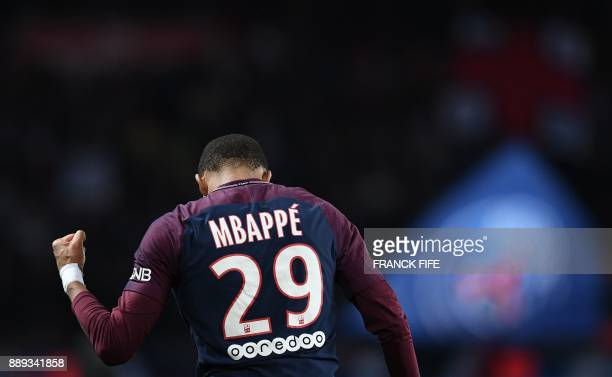 Paris SaintGermain's French forward Kylian MBappe celebrates his goal during the French L1 football match between Paris SaintGermain and Lille at the...