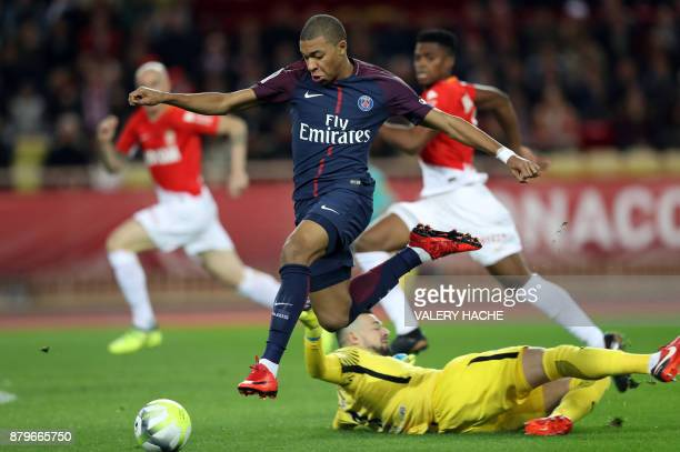 Paris SaintGermain's French forward Kylian Mbappe controls the ball during the French L1 football match between Monaco and Paris SaintGermain at the...