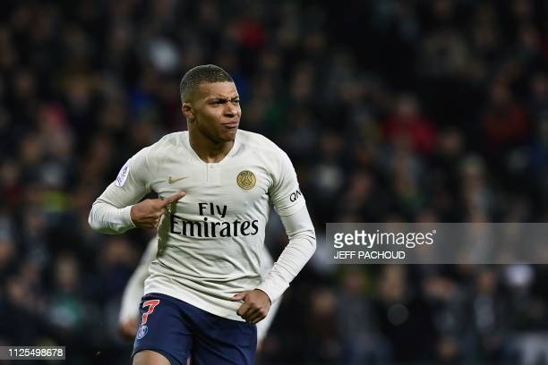 69f5732c6823 Paris SaintGermain s French forward Kylian Mbappe Lottin celebrates after  scoring a goal during the French L1