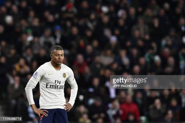 Paris SaintGermain's French forward Kylian Mbappe Lottin reacts during the French L1 football match SaintEtienne vs Paris SaintGermain on February 17...