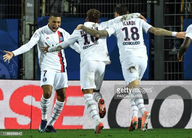 Paris SaintGermain's French forward Kylian Mbappe Paris SaintGermain's Brazilian forward Neymar and Paris SaintGermain's Argentine forward Mauro...
