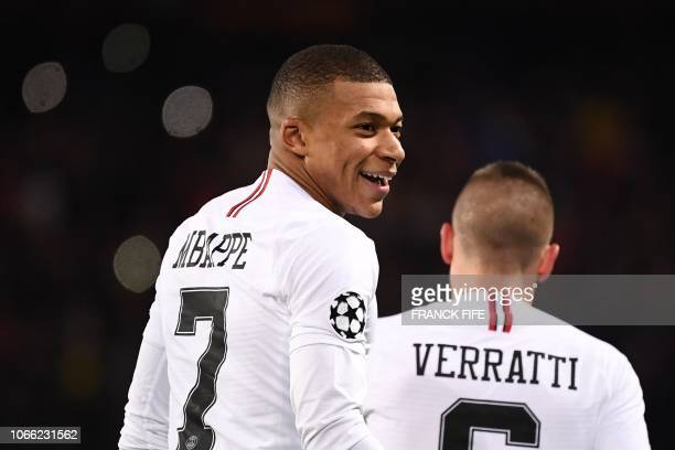 Paris SaintGermain's French forward Kylian Mbappe reacts during of the UEFA Champions League Group C football match between Paris SaintGermain and...