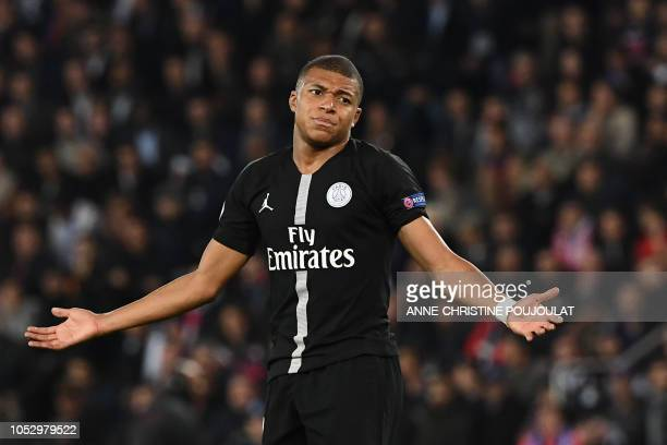 c01f1af133d8 TOPSHOT Paris SaintGermain s French forward Kylian Mbappe reacts during the  UEFA Champions League Group C football