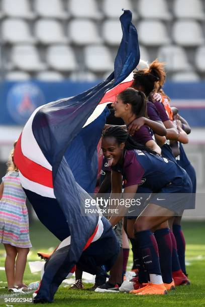 Paris SaintGermain's French forward Marie Antoinette Katoto reacts after the French D1 Women's football match between Paris SaintGermain and...